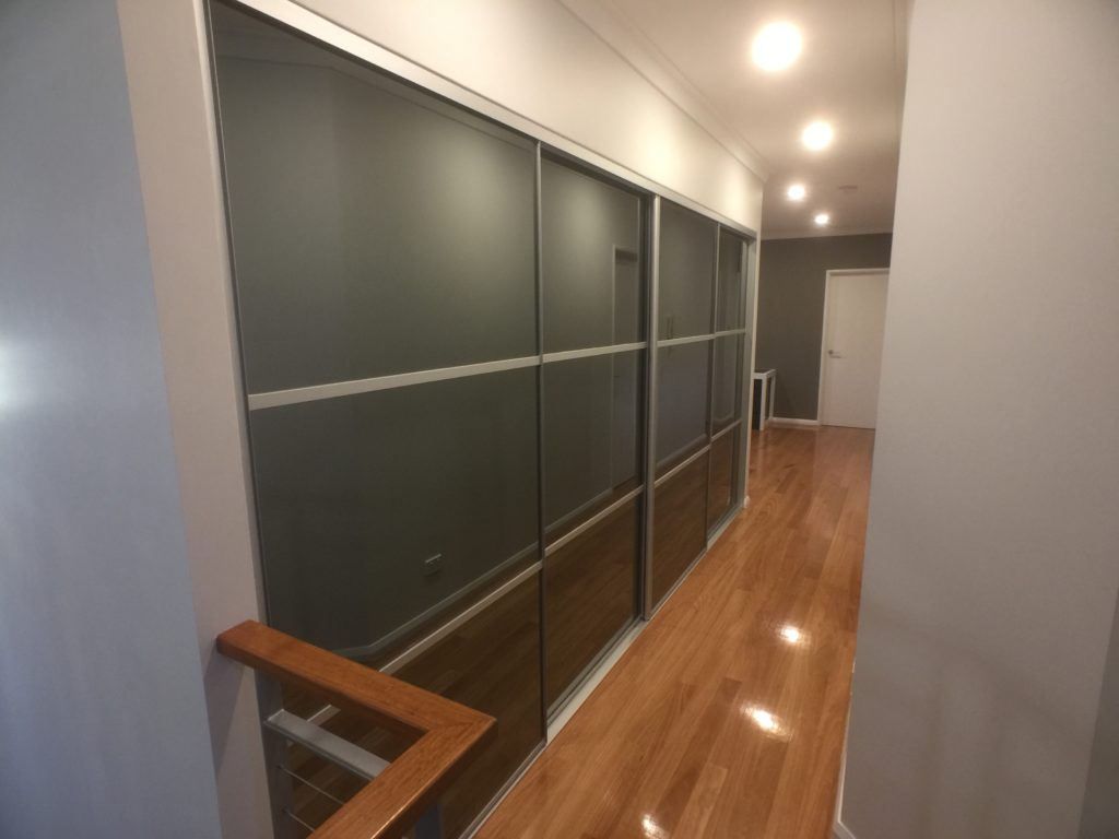 Grey glass sliding doors