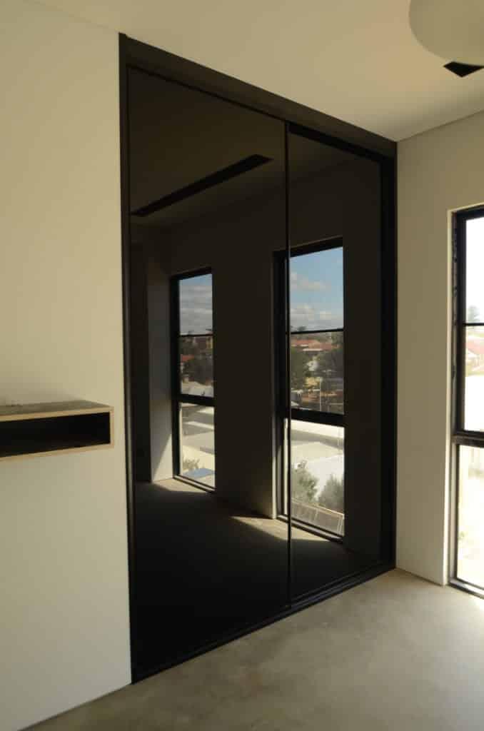 Black mirror sliding doors