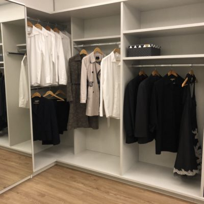 Walk in wardrobe corner storage