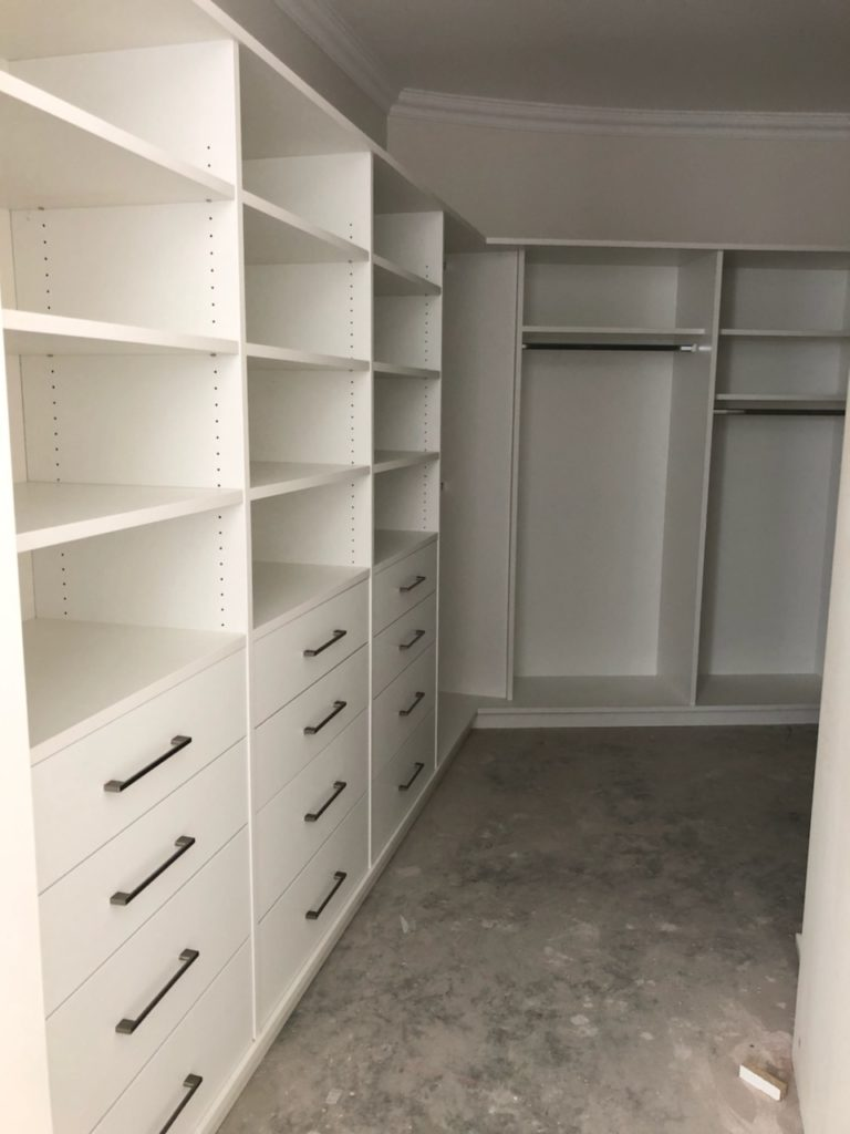 Walk in wardrobe with drawers