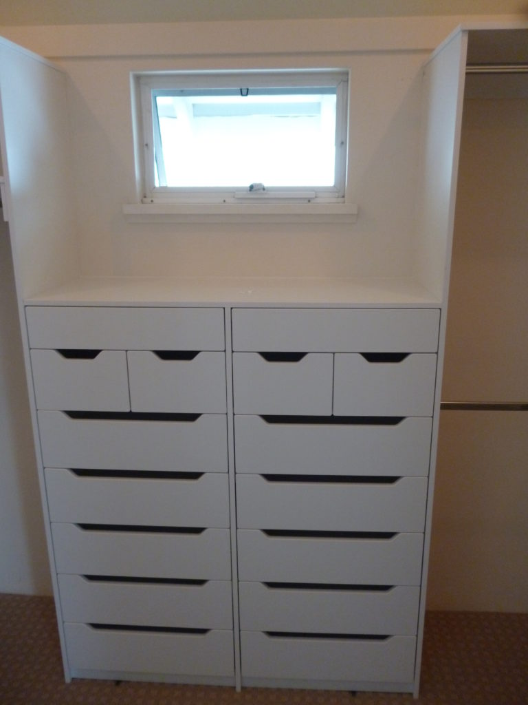 Drawers with cut outs and jewellery
