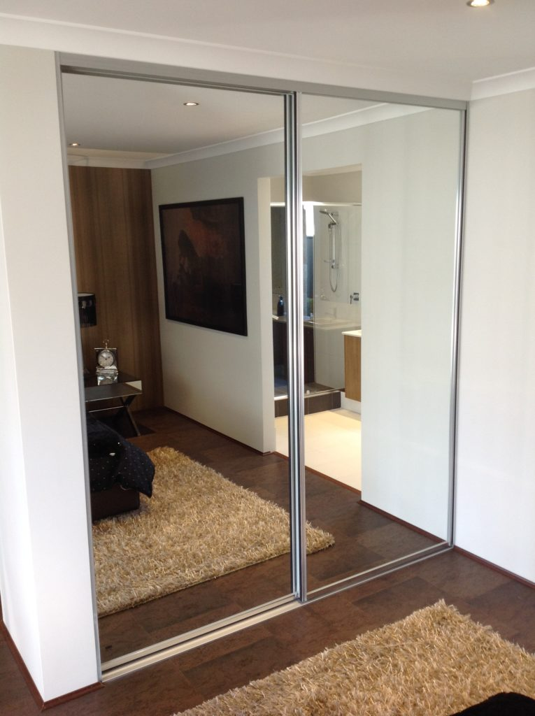 Mirror sliding doors with silver frames