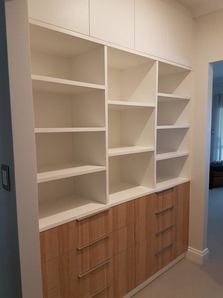 Two tone wardrobe with shelving