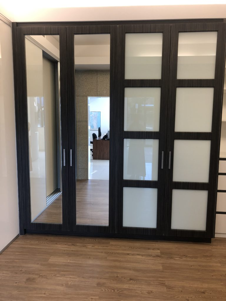 Vinyl wrapped doors with mirror and glass inserts