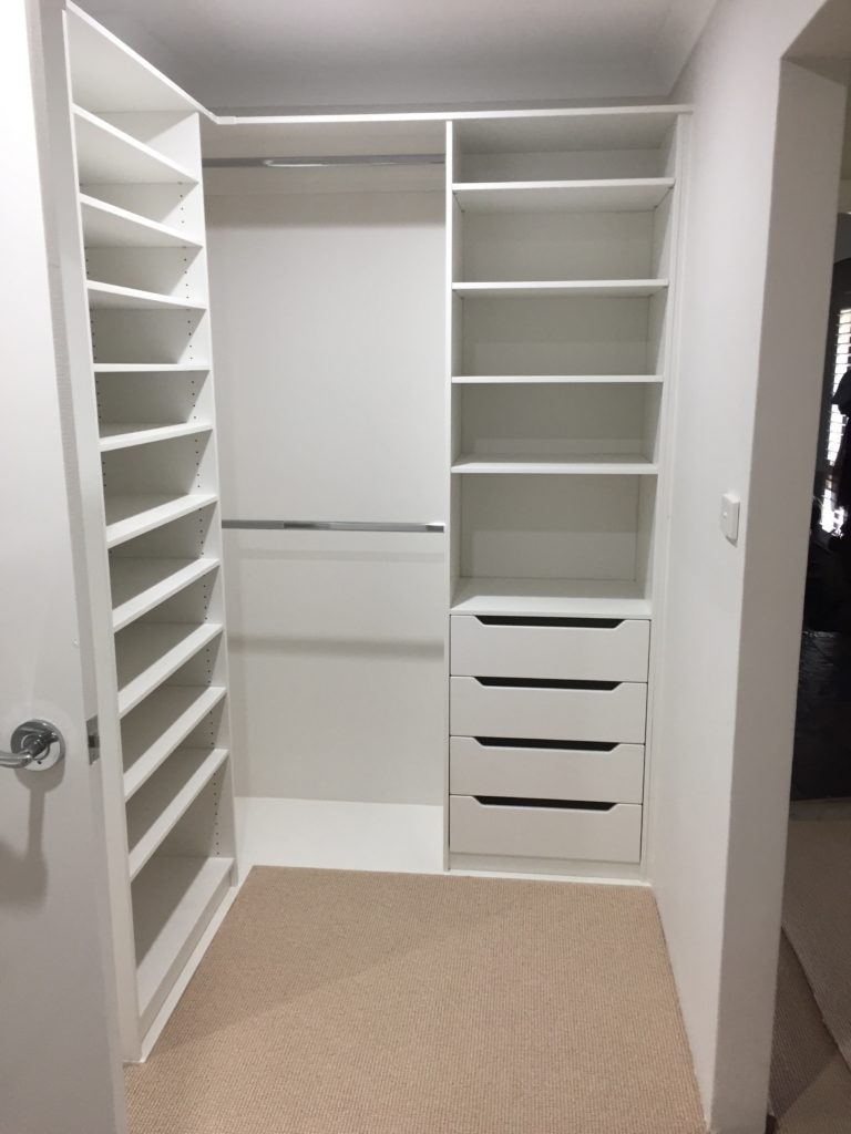 Walk in wardrobe shelving and double hanging