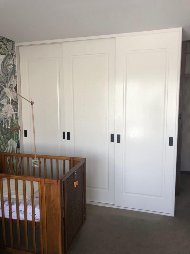 Vinyl sliding doors with panel detail