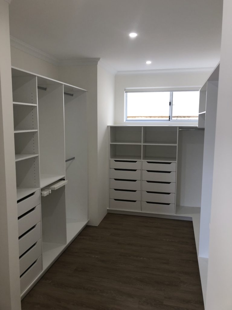 Walk in wardrobe storage
