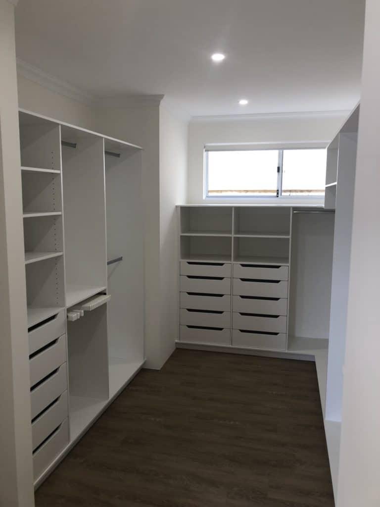 Walk in wardrobe storage